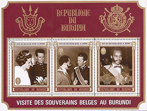 Burundi - 1970 Belgian Royal Visit - 3 Stamp Souvenir Sheet - Scott #C142a