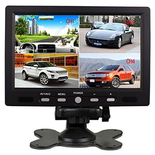 SallyBest® 7 Inch 16:9 HD 4 Split Quad Video Displays Automatic Identify 4 Video Input Signal TFT LCD Car Rear View Monitor with Stand-alone DVD VCR Camera GPS Headrest Monitor (Monitor Stand Lcd Alone)