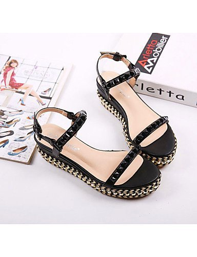 ShangYi Kitten White Black Shoes Women's Black Open Casual Toe Sandals Heel Wedges prp4nqwfW