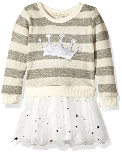 Youngland Girls' Toddler' Sparkle Sweater Knit Tutu Dress with Applique, Ivory/Grey, 4T