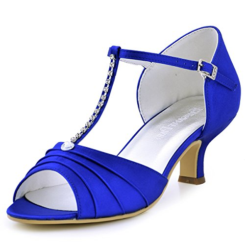 ElegantPark EL-035 Women Peep Toe T-Strap Pumps Mid Heel Rhinestones Satin Evening Wedding Sandals Blue US 8
