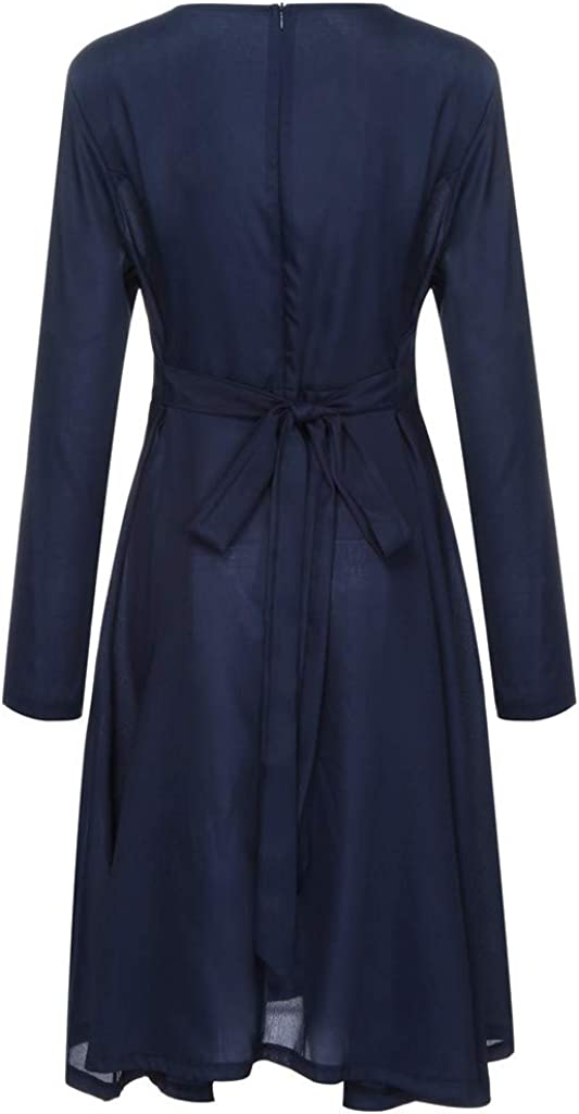 Women O Neck Casual Long Sleeve Mini Loose Party Butterfly Waist Swing Skirt Dress