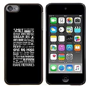 EJOOY---Cubierta de la caja de protección para la piel dura ** Apple iPod Touch 6 6th Touch6 ** --SONRISA Y ABRAZOS TIPOGRAFÍA