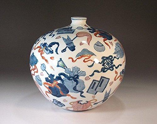 有田焼伊万里焼の陶器花瓶宝尽くし|贈答品|ギフト|記念品|贈り物|陶芸家 藤井錦彩 B00M1HNI72