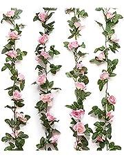 Amacoam bloemenslinger van kunstbloemen, hangende rozen, slinger, namaakbloemen, slinger, voor thuis, muur, tuin, bruiloft, strik, bloemschikking, decoratie, 2 stuks, 230 cm, 16 bloemen