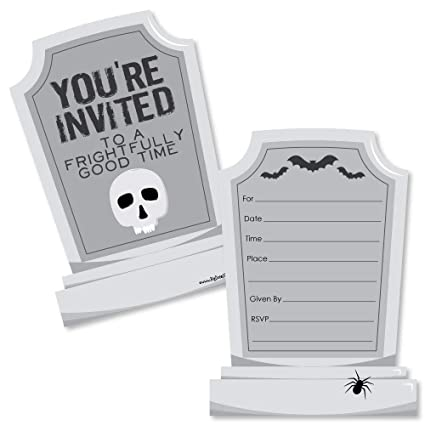 graveyard tombstones shaped fill in invitations halloween party invitation cards envelopes set