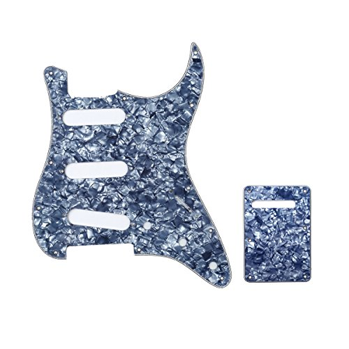 Musiclily SSS 11 Holes Strat Electric Guitar Pickguard and BackPlate Set for Fender US/Mexico Made Standard Stratocaster Modern Style Guitar Parts,4Ply Pearl Grey