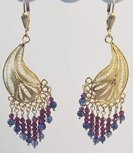 Filigree Chandelier Earrings Natural Garnet Facet Beads Iolite beads 14Kt Gold filled Pierced Lever Back Gorgeous Handmade USA from Beads of Paradise Ca