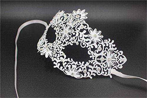 Face mask Shield Veil Guard Screen Domino False Front Flower Wedding Party Wrought Iron mask Gold and Silver Cosplay Venice Diamonds mask Makeup Dance mask Female White by PromMask (Image #2)