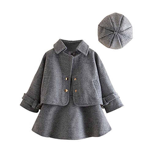 Mud Kingdom Faux Wool Girl Outfit 3-Piece Clothes Set Dress Coat and Dress with Beret Hat 7 8 ()
