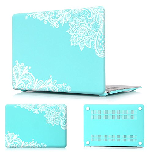 Batianda Lovely Lace Design Matte Hard Case for MacBook Air 13 inch (A1466 & A1369) (Not Compatible for 2018 Newest Version) Shell Cover - Mint Green