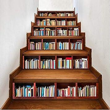 Vinilos Escaleras Biblioteca Escaleras Pegatinas Librería Estilo Escalera Decoración Mural Autoadhesiva Estantería Diy Tatuajes Impermeable Poster 6 Unids/Set: Amazon.es: Bricolaje y herramientas