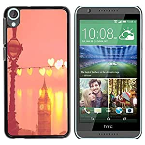 Be Good Phone Accessory // Dura Cáscara cubierta Protectora Caso Carcasa Funda de Protección para HTC Desire 820 // Big Ben Hearts Peach Pink London England