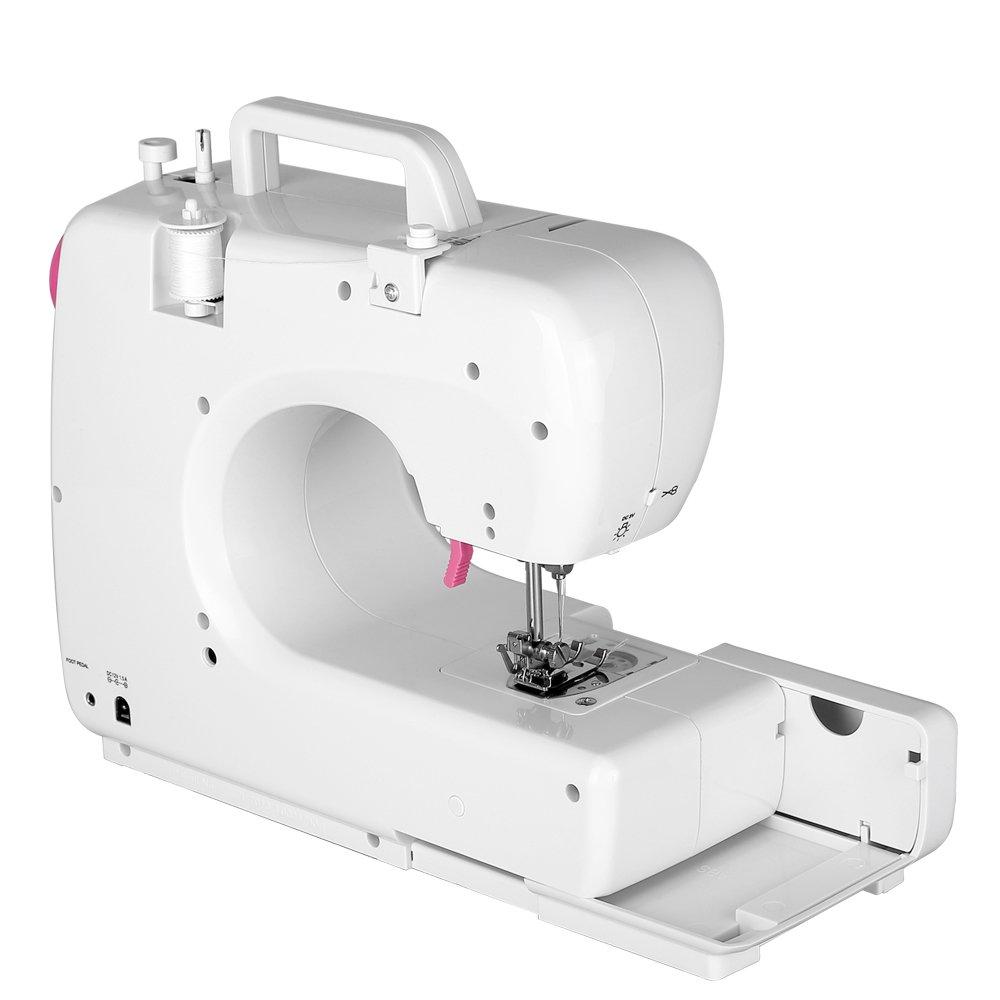 Uten Mini Máquina de Coser Portátil Profesional Eléctrica con LED Lámpara 16Puntos