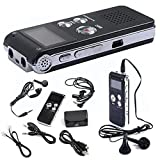 8GB Digital Audio Voice Recorder Rechargeable Dictaphone USB Drive MP3 Player US (Black, 1Set)