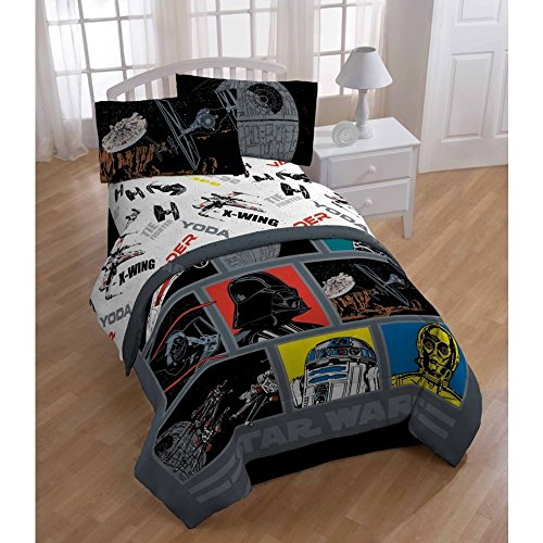 Star Wars Classic Death Star Reversible Kids Boys Bedding TWIN Size Comforter Set (5 Piece in a Bag)