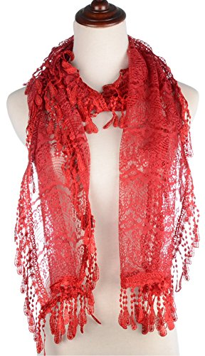 BYOS Womens Delicate Victoria Vintage Inspired Fan Pattern Lace Scarf Red
