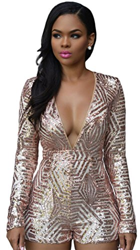 [TomYork Rose Gold Sequin Playsuit(Pink,L)] (Lady Gaga Disco Ball Costume)