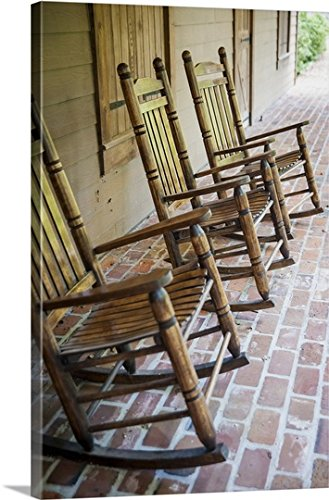 Louisiana, Rocking Chairs In Oakley Plantation, Audubon State  Gallery Wrapped Canvas
