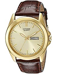 Citizen Mens Quartz Stainless Steel Watch with Day/Date, BF0582-01P