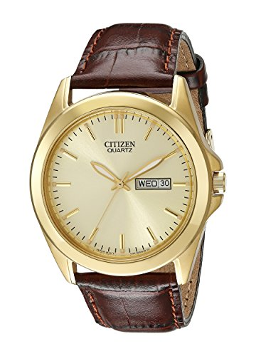 Citizen Men s Goldtone Watch with Brown Leather Strap