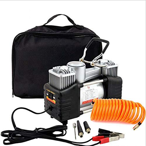 Liuliangmei Tire Inflator, Portable Air Compressor 12V 280W Electric with Extra Nozzle Valve Adapter, Twin Cylinder