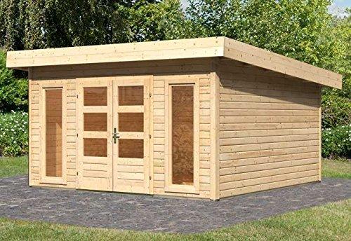 Karibu Woodfeeling Gartenhaus Northeim 5 naturbelassen 40 mm Außenmaß (B x T): 369 x 369 cm Dachstand (B x T): 418 x 420 cm Wandstärke: 40 mm umbauter Raum: 27,7 cbm Bauweise: Steck-/Schraubsystem Ausführung: naturbelassen