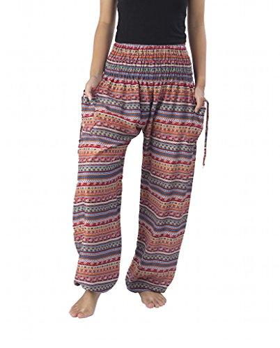 Lannaclothesdesign Women's Smocked Waist Paisley Print Rayon Yoga Harem Pants (L, Red Paisley) (Print Pant Paisley)