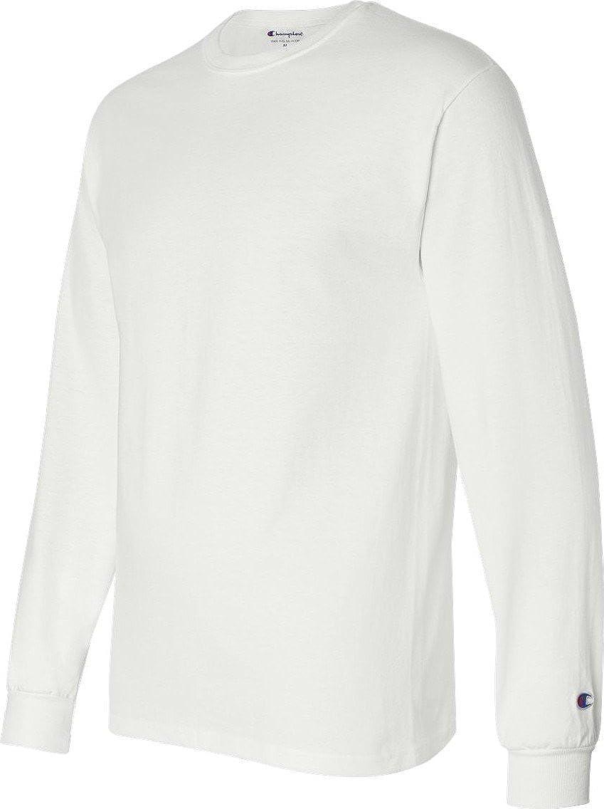 57a3f6d43 Amazon.com: Champion 5.2 oz. Long-Sleeve Tagless T-Shirt: Clothing