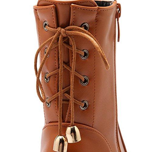 Allhqfashion Women's Round Closed Toe Low-Top Kitten-Heels Solid PU Boots Brown U9feMV7sqs