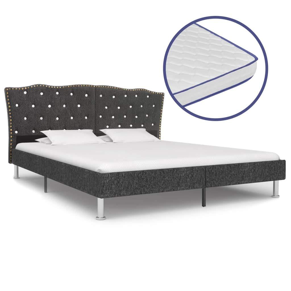 vidaXL Bett mit Memory-Schaum-Matratze Polsterbett Stoffbett Doppelbett Schlafzimmerbett Bettgestell Bettrahmen Lattenrost Dunkelgrau Stoff 160x200cm