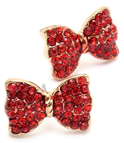 Red Crystal Princess Christmas Holiday Bow Stud Earrings Fashion Jewelry