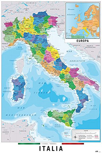 Map Of Italy In Italian.Map Of Italy Poster Print Italian Language Version Size 24 Inches X 36 Inches