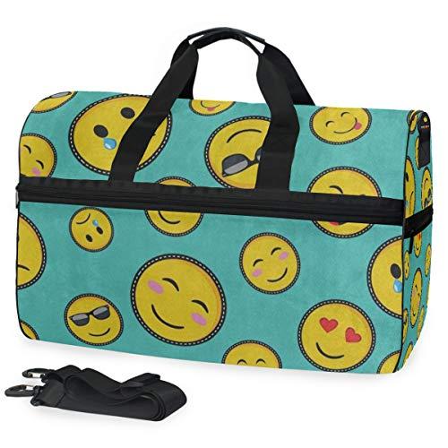 Duffle Bag Cute Face Emoji Smiley Gym Bag with Shoe Compartment Sport Bag for Men Women