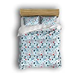 Sunshine Day Hand Drawn Leaves Roses Pattern Bedding Sets art Print 4 Piece Full Size Girl Bedding Set Soft Brushed Cotton,Duvet Cover Flat Sheet And 2 Pillowcases