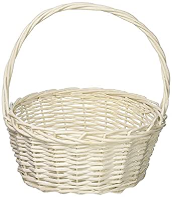 """HomeSource Oval Willow Basket, White (7.5"""" x 6"""" x 8.5"""")"""
