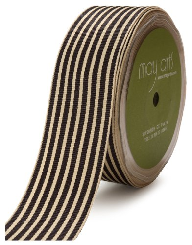 May Arts 1-1/2-Inch Wide Ribbon, Black Grosgrain Stripe ()