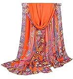 Alysee Women Gorgeous Indian Style Paisley Print Chiffon Long Scarf Shawl Wrap Color Orange