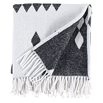"Rivet Colorful Geometric Diamond Jacquard Reversible Throw Blanket, 50""x60"", Black/White - Made in Portugal, this throw features a modern geometric design. The bold color palette, artful fringe and jacquard pattern on the reverse side make it particularly beautiful when draped over the edge of a sofa or arm chair. 50""W x 60""L 50% cotton/50% acrylic - blankets-throws, bedroom-sheets-comforters, bedroom - 51qXuCuJxmL. SS400  -"