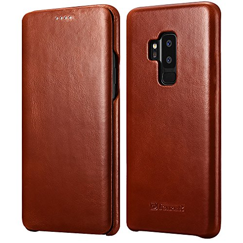 Galaxy S9 Plus Leather Case, Icarer Genuine Vintage Leather Flip Folio Opening Cover in Curved Edge Design, Slim Thin Side Open Case for Samsung Galaxy S9 Plus 6.2 Inch (Brown)