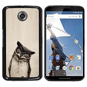 Caucho caso de Shell duro de la cubierta de accesorios de protección BY RAYDREAMMM - Motorola NEXUS 6 / X / Moto X Pro - Owl Drawing Art Pencil Black White Bird Night
