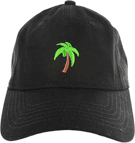 Price comparison product image Dad Hat Cap - Palm Tree Emoji Embroidered Adjustable Black Baseball Cap