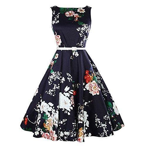 iLUGU O-Neck Sleeveless Knee-Length Dress For Women Floral Print A-Line Blue Dress