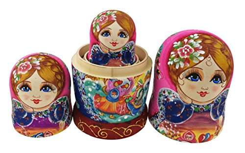 Beautiful Color Cute Little Girl Fairy Tale Handmade Wooden Russian Nesting Dolls Matryoshka Dolls Set 7 Pieces for Kid Toy Birthday Home Decoration by Winterworm (Image #8)