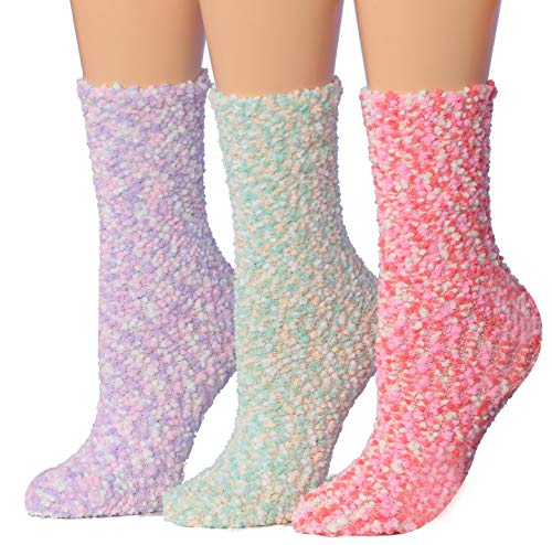 Tipi Toe Women's 3-Pairs Cozy Microfiber Anti-Skid Soft Fuzzy Crew Socks ()