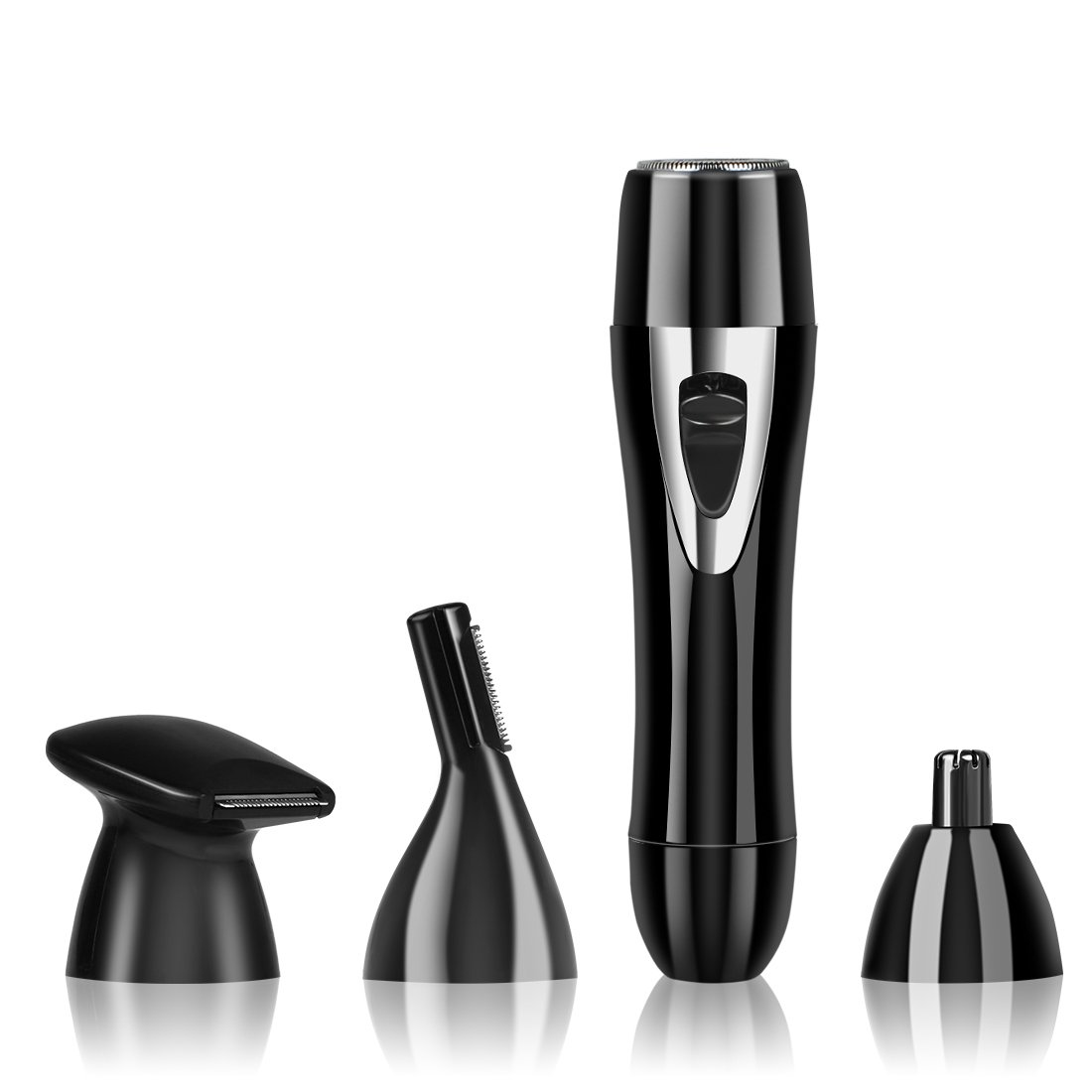 Hair Remover for Women, Foraco Professional Waterproof 4 in 1 Flawless Hair Trimmer Epilator Tool Set for Facial & Body, USB Rechargeable, Black (Black)