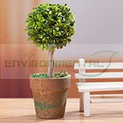 EUTTEUM Ball Leafs Trunk Artificial Fake Plants Plastic Fabric Home Table Decor Potted
