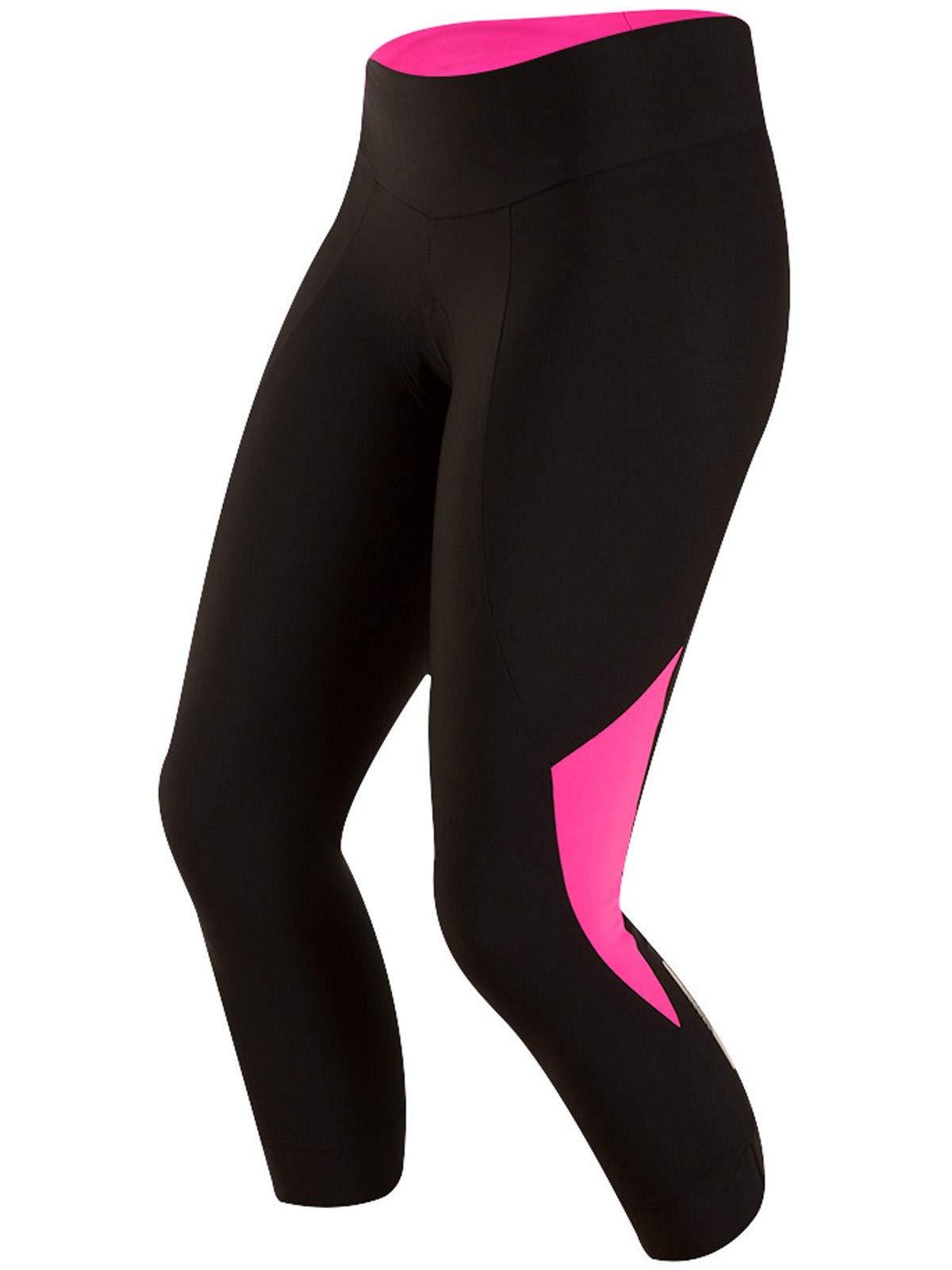 Pearl iZUMi Women's Select Pursuit 3 Quarter Tights, Black/Screaming Pink, X-Small
