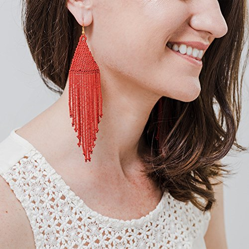 Red Beaded Fringe Dangle Earrings for Women | Fair-Trade Handmade Jewelry Crafted with Love in Guatemala by the Madres Collective