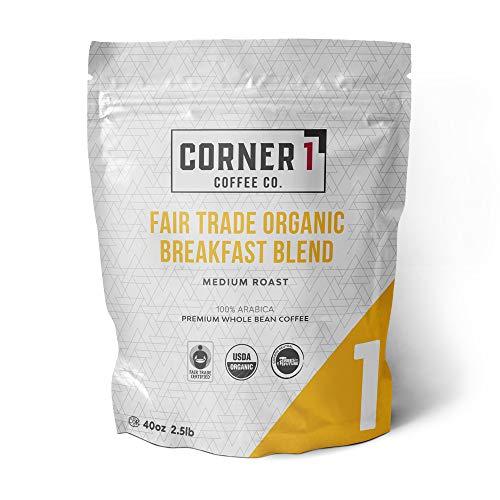 Corner One Coffee Fair Trade Organic Breakfast Blend Whole Bean Coffee, Breakfast Blend, 2.5 Pound